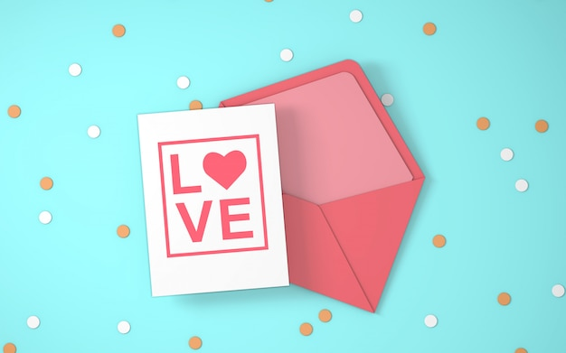 バレンタインデー封筒の招待状 無料 Psd