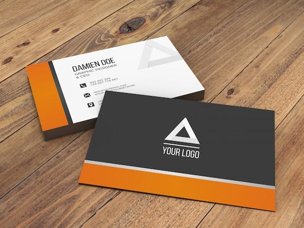 Элегантный реалистичный деревянный фоновой макет визитной карточки Бесплатные Psd