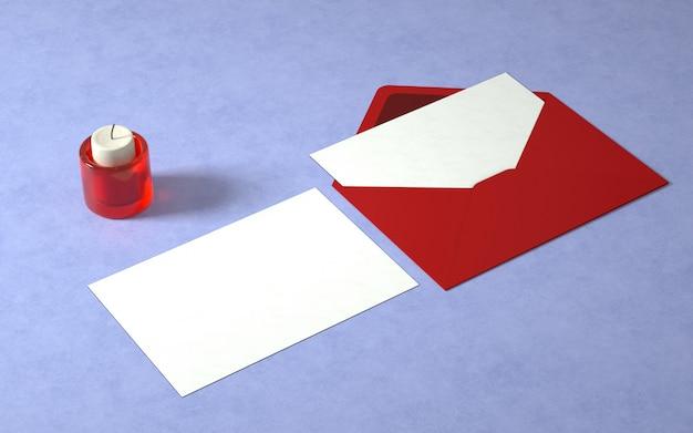 キャンドルとエレガントなカードと封筒のモックアップ 無料 Psd