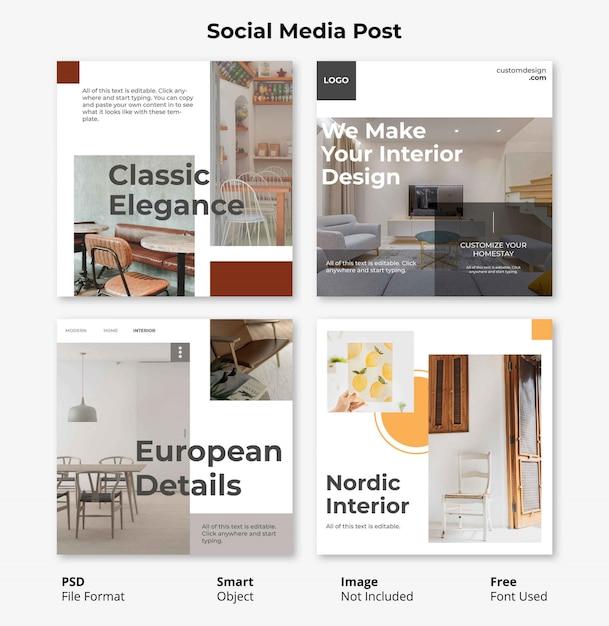 Редактируемый шаблон минималистский социальные медиа пост баннер Premium Psd