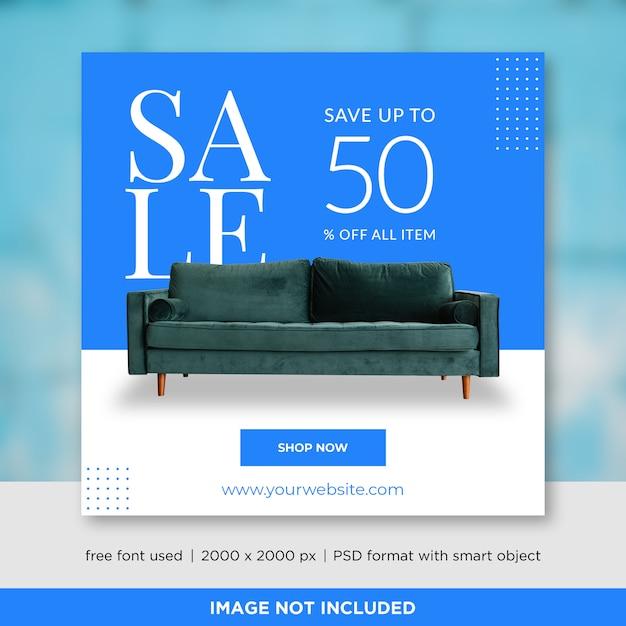 家具販売ソーシャルメディアバナーテンプレート Premium Psd