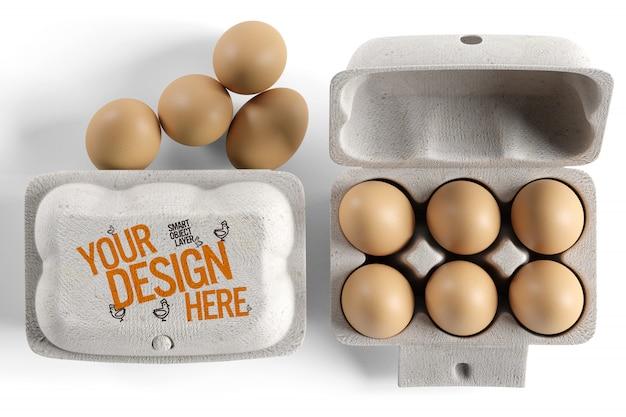 卵のカートン包装モックアップのビュー Premium Psd