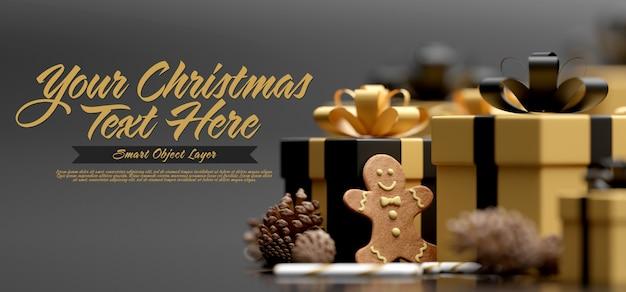 メリークリスマスのグリーティングカードテンプレート Premium Psd