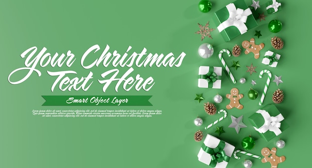 Макет рождественской сцены Premium Psd