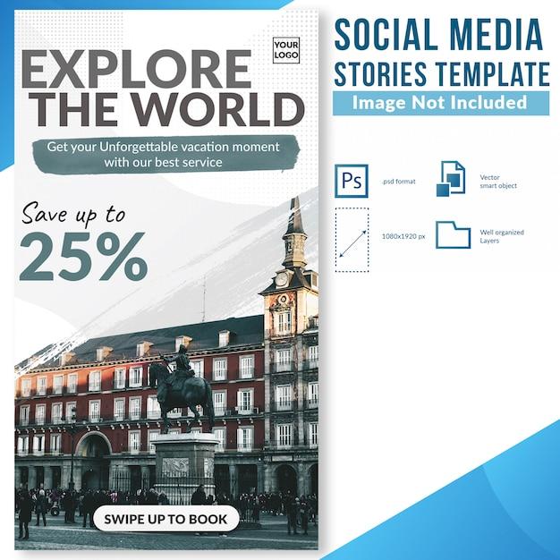 Исследуйте мир специальная скидка предлагаем социальные медиа истории веб-баннер шаблон Premium Psd