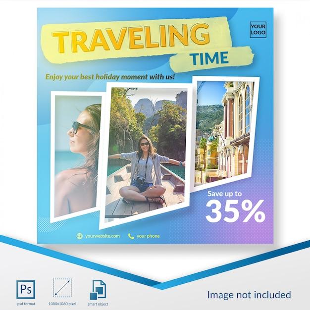 Летнее предложение путешествий в социальных сетях Premium Psd