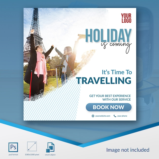 Шаблон сообщения для путешествий в социальных сетях Premium Psd