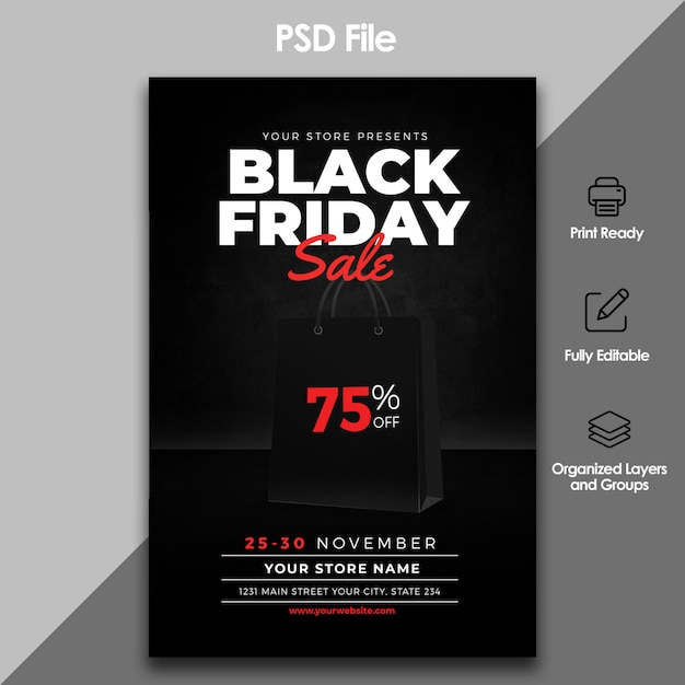 Черная пятница продажи флаер шаблон Premium Psd