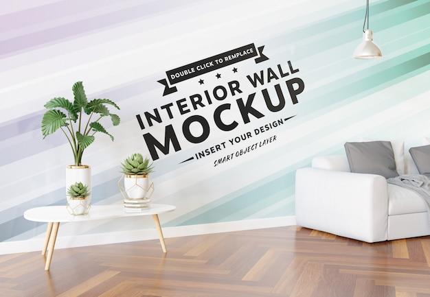 リビングルームのモックアップの空白の壁 Premium Psd