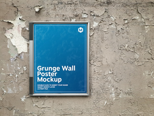 グランジ壁モックアップの看板のポスター Premium Psd