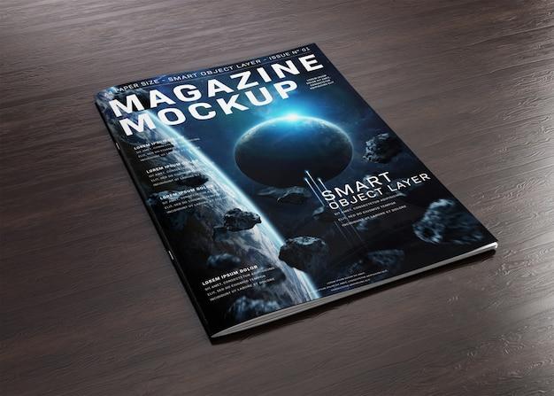 Обложка журнала на деревянной поверхности макет Premium Psd
