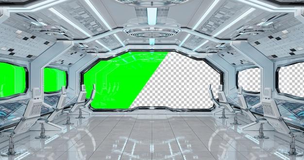 Белый космический корабль футуристический интерьер с вырезанным окном Premium Psd