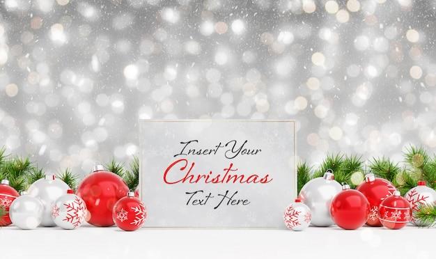 Рождественская открытка макет с падающим снегом и шарами Premium Psd
