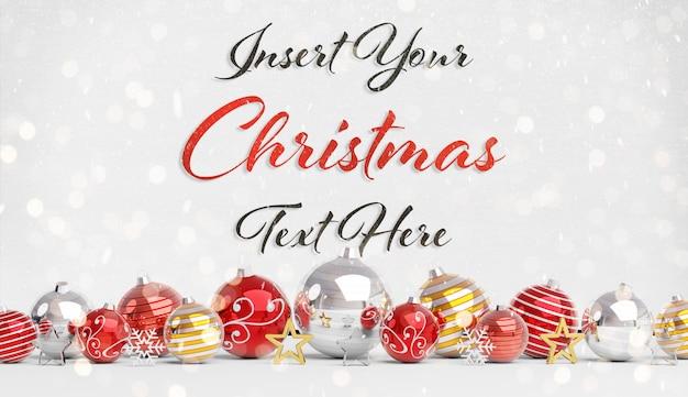 Рождественская открытка макет с текстом и красными шарами Premium Psd