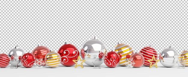 孤立した赤と金色のクリスマスつまらないものを切り取る Premium Psd