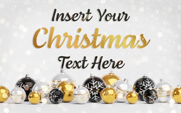Рождественская открытка макет с текстом и золотыми шарами Premium Psd