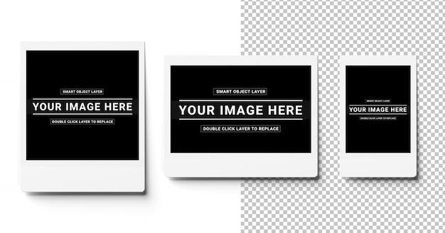 Три вырезанные мгновенные фотографии на белом макете Premium Psd