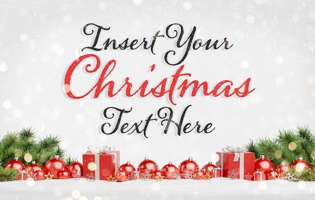 Рождественский текст с красными шарами Premium Psd