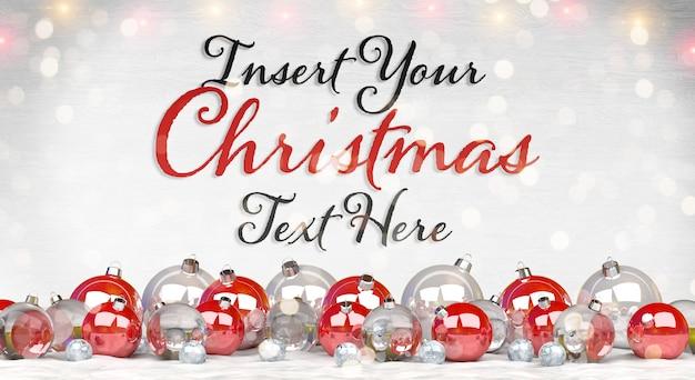 Рождественская открытка макет с текстом и красные шары на снегу Premium Psd