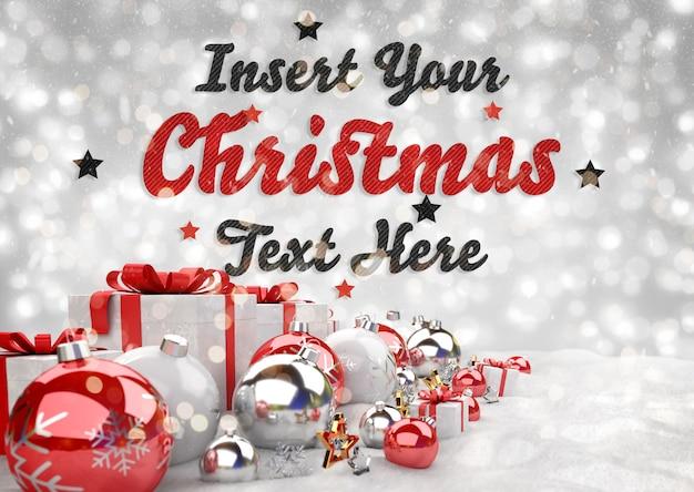 Рождественский баннер с текстом и красными шарами Premium Psd