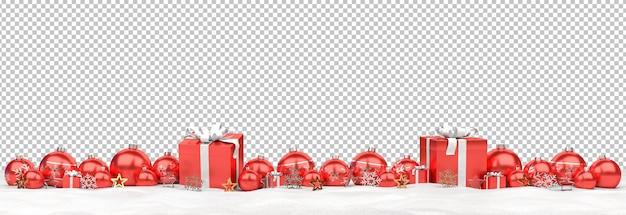 Изолированные красные рождественские безделушки и подарки на снегу Premium Psd