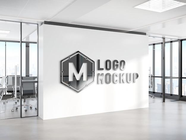 オフィスの壁のモックアップのロゴ Premium Psd