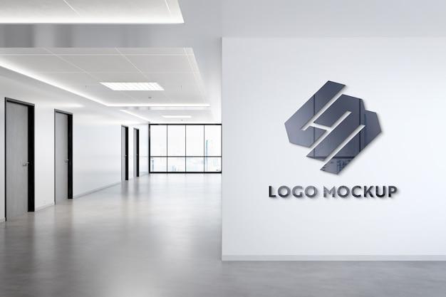 Логотип на стене офиса макет Premium Psd