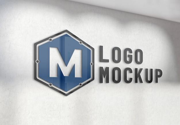 オフィスのコンクリート壁のモックアップにロゴを反映 Premium Psd
