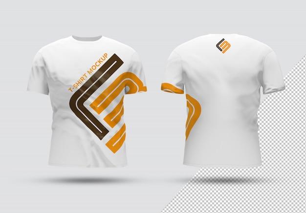 Передняя и задняя изолированная футболка с теневым макетом Premium Psd