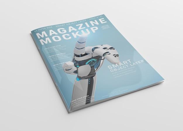 Пустой макет обложки журнала на белом Premium Psd