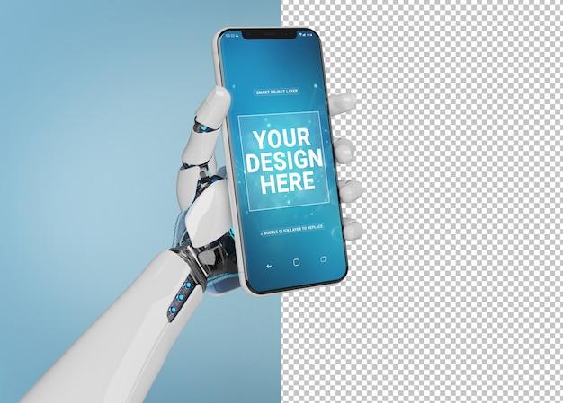 孤立した現代のスマートフォンのモックアップを持っている白いロボットの手を切り取る Premium Psd