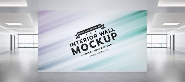 コンクリートのオフィスのモックアップで空白の壁 Premium Psd