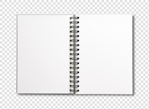 白で隔離空白オープンスパイラルノート Premium Psd