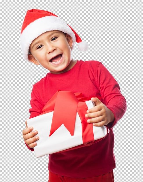 クリスマスを祝う子供男の子 Premium Psd