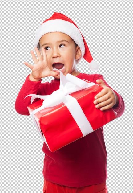 Маленький малыш мальчик празднует рождество Premium Psd