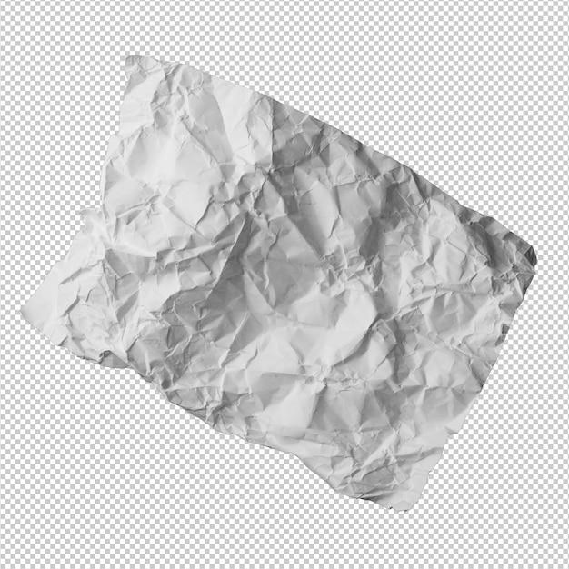 しわくちゃの紙の白い背景の上 Premium Psd