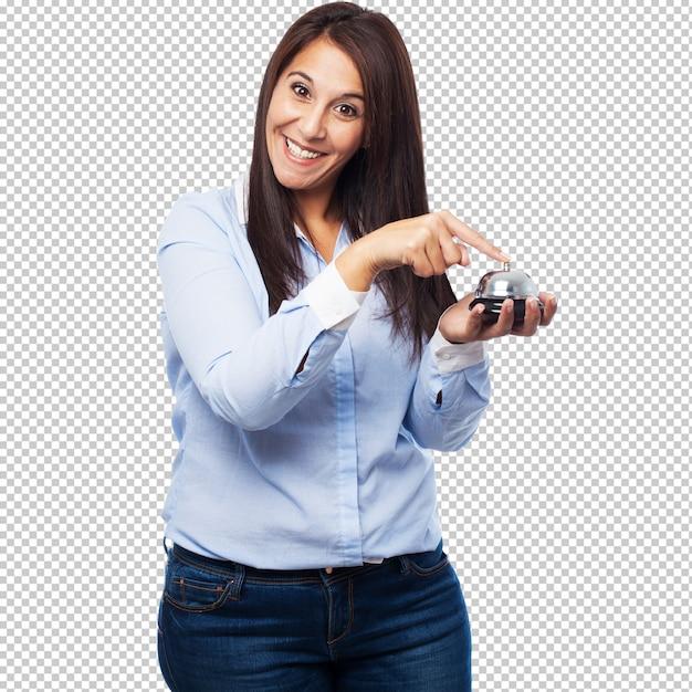 ボタンを持つ幸せな若い女 Premium Psd