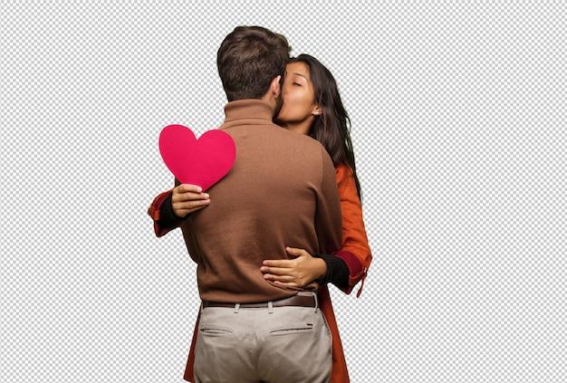 バレンタインの日を祝うクールなカップル Premium Psd