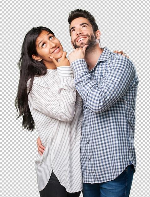 Молодая пара задумчивая Premium Psd