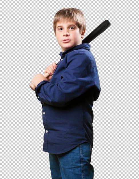 野球をしている少年 Premium Psd
