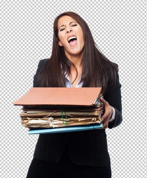 ファイルを持つクールなビジネス女性 Premium Psd