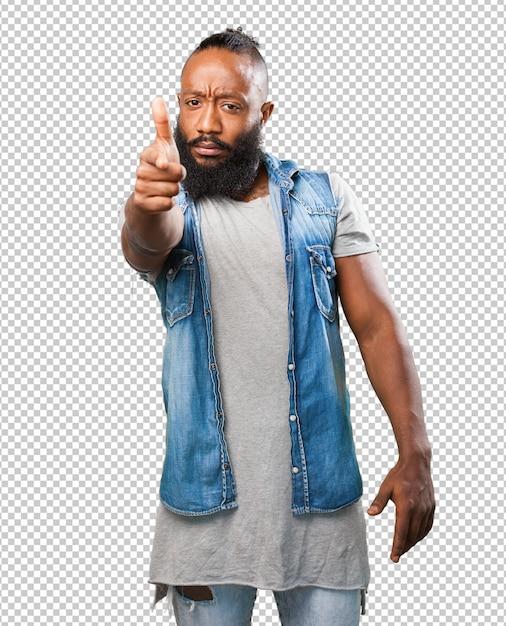 銃ジェスチャーをしている黒人男性 Premium Psd