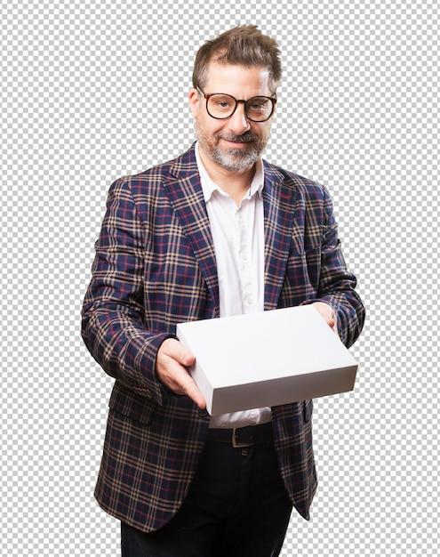 白い箱を持って中年の男 Premium Psd