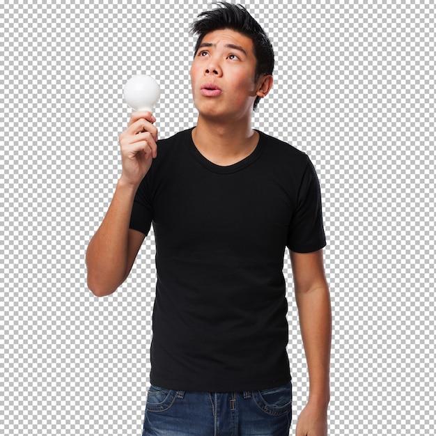 アイデアを持つ若い中国人男性 Premium Psd