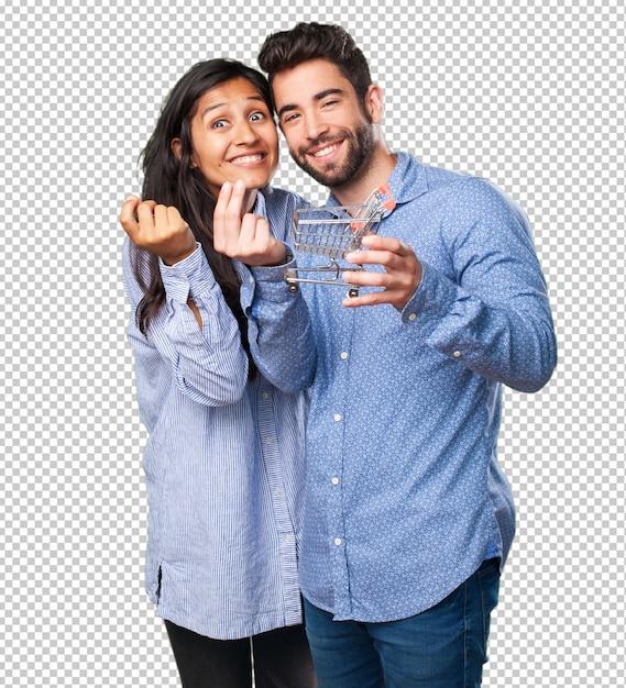 Молодая пара держит корзину Premium Psd