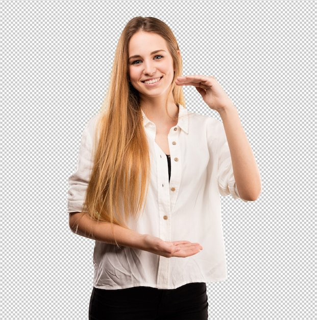 Милая молодая женщина делая жест размера Premium Psd