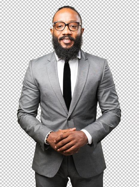 Бизнес черный человек улыбается Premium Psd