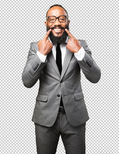 Бизнес черный человек, указывая рот Premium Psd