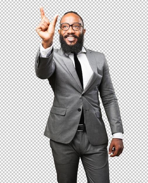 Бизнес черный человек трогательный экран Premium Psd