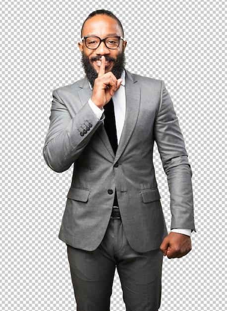 沈黙のジェスチャーをしているビジネス黒人男性 Premium Psd